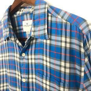 American Eagle Mens Blue Flannel Shirt Size Large
